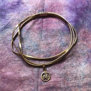 triskele triple spiral gold choker
